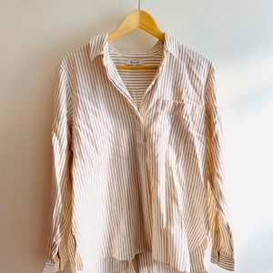 *NWT* Madewell Flannel Button-Back Striped Shirt